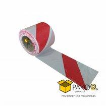 Taśma ostrzegawcza 8 cm X 100 m biało-czerwona