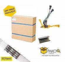 Ekonomiczny zestaw do pakowania (Paskowacz, zapinka metalowa, taśma 16 mm)