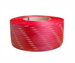 Taśma polipropylenowa PP 09 x 0.55/200/3200 m/czerwona z białym nadrukiem